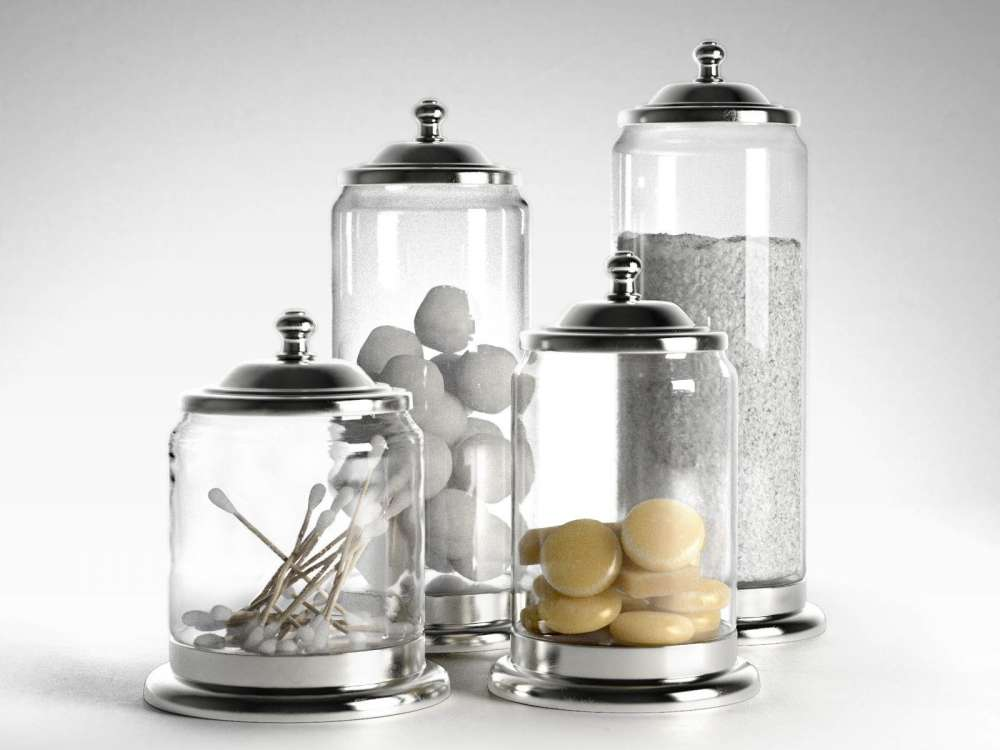 Apothecary Pewter And Glass Bath Jars