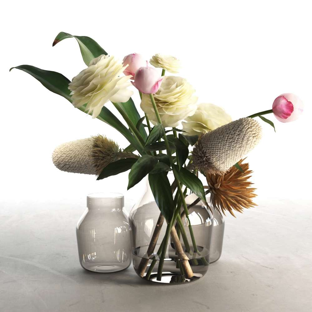 225 & Glass Vases With Flowers 2