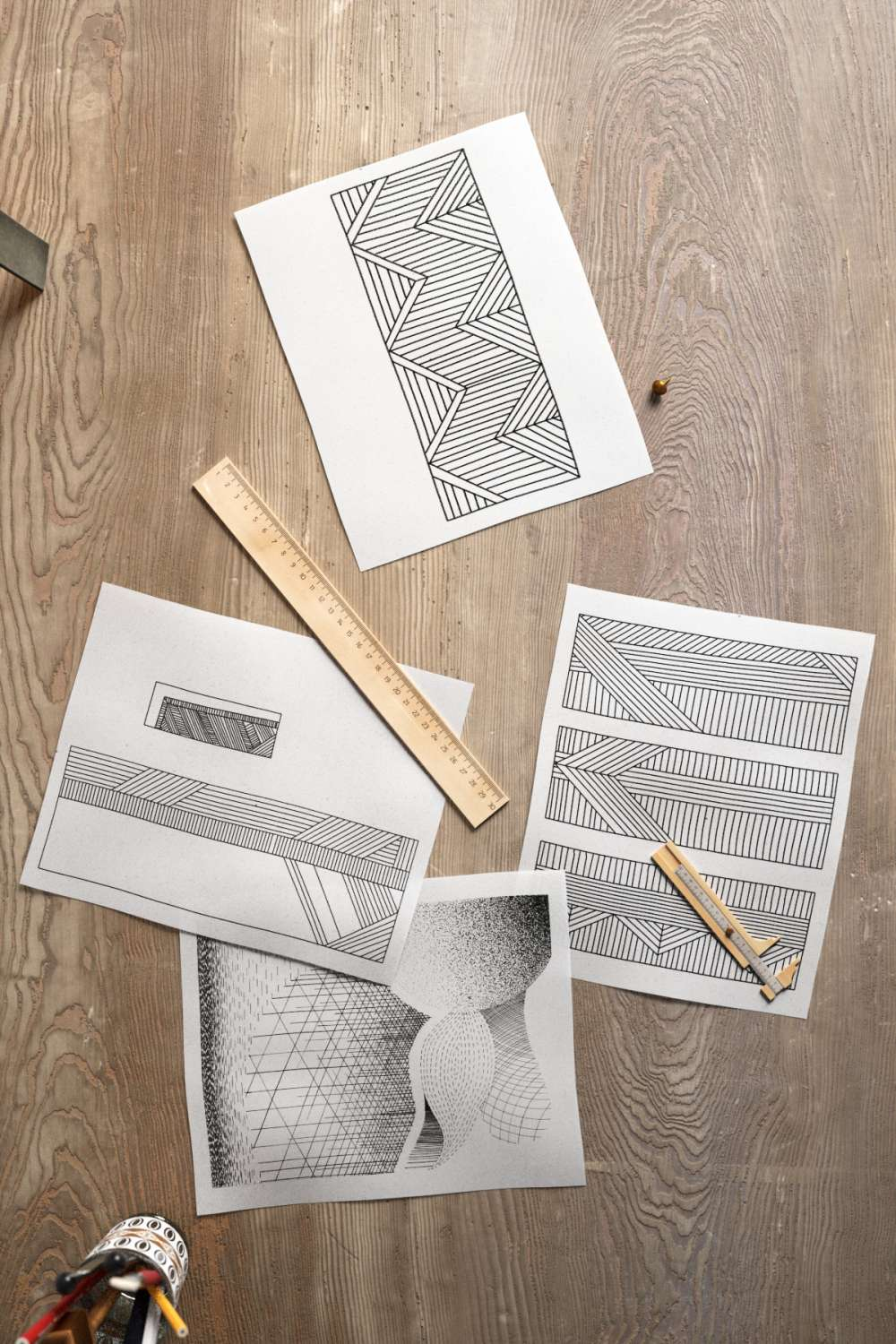 Handicraft Tools Papers And Wall Lamp