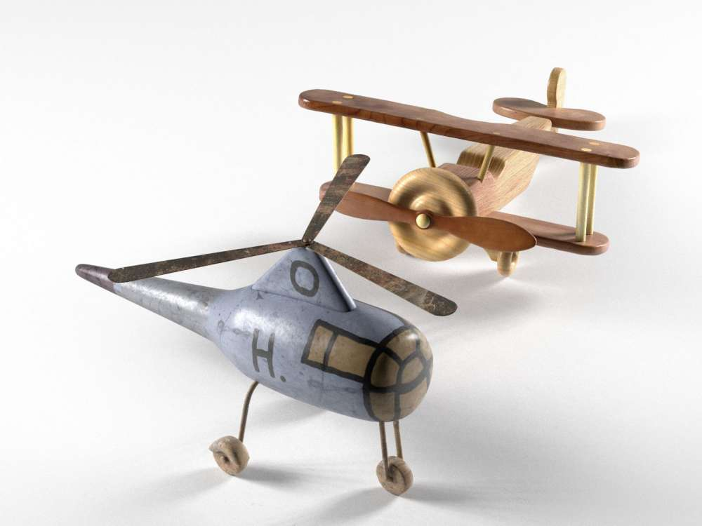 Helicopter and Wooden Bi Plane Airplane Toys 3d model