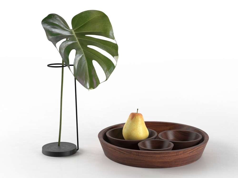 Monstera and Bowls with Pear 3d model