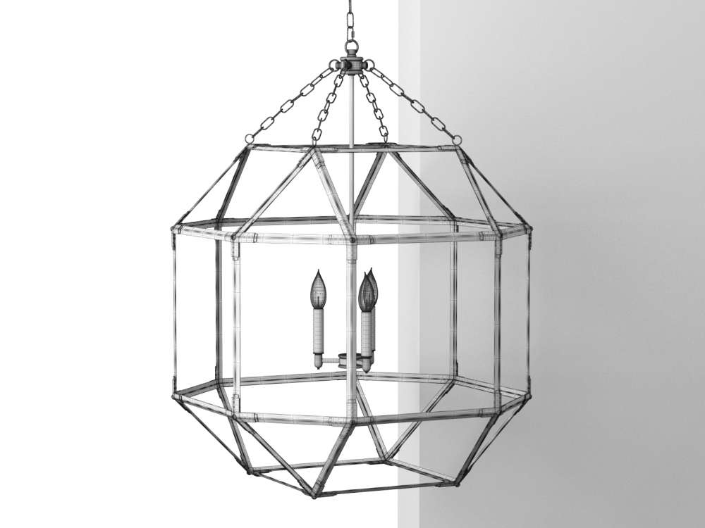 Parisian Octagonal Antiqued Mirror Glass Pendant