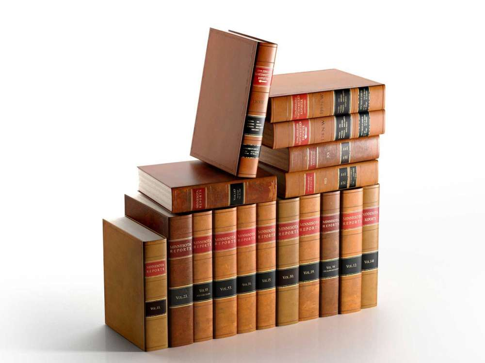 Set of Antique American Leather Bound Law Books 3d model