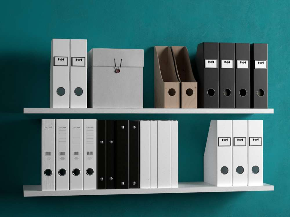 Shelves with Magazine Files 3d model