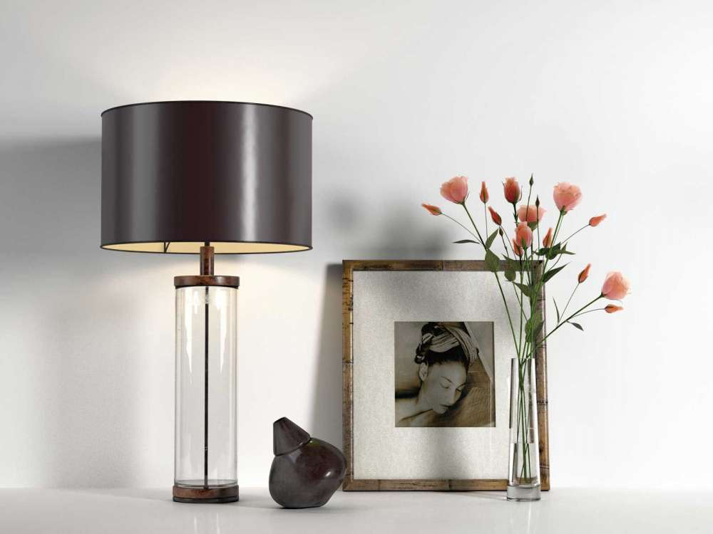 Table Lamp, Picture and Glass Vase with Roses 3d model
