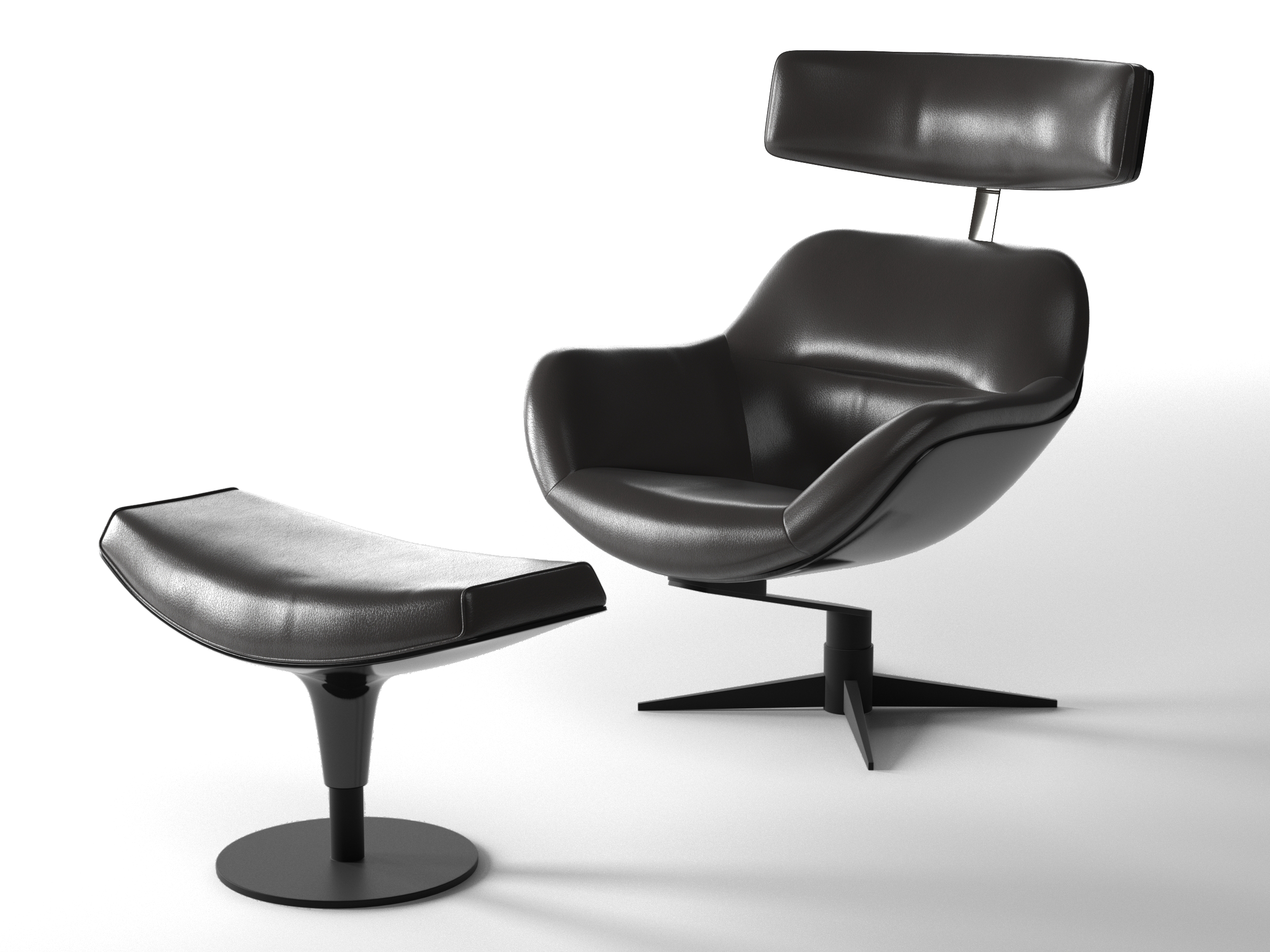 Bon 277 Auckland Armchair And Footrest 3d Model