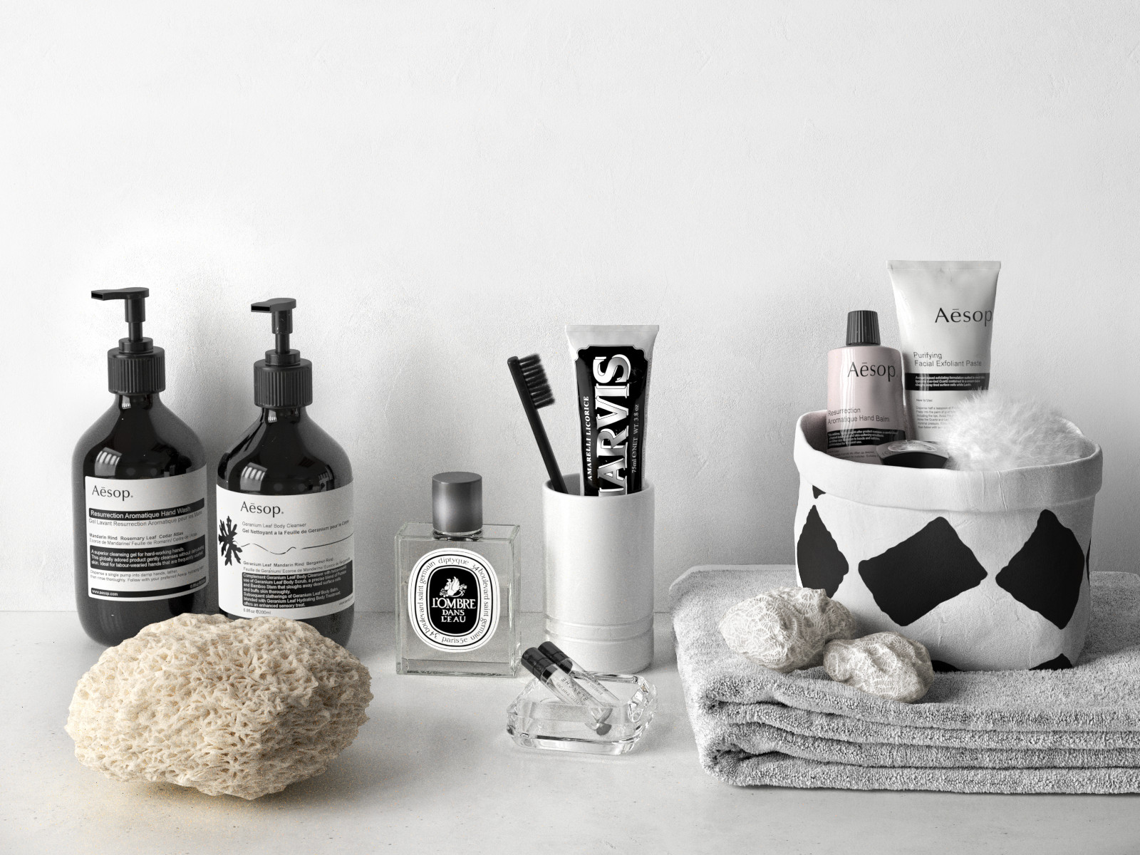 Aesop and marvis bathroom composition for Men s bathroom accessories