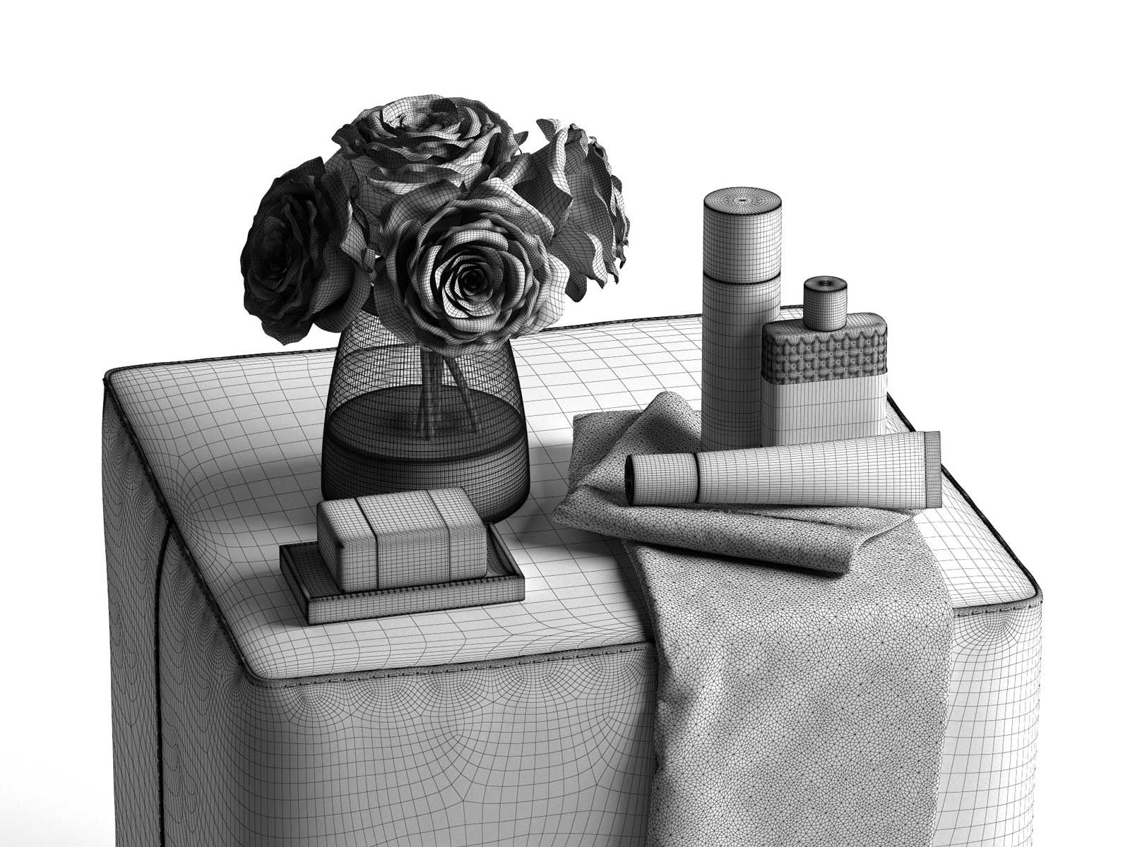 Black And White Pouf Bath Composition With White Roses On Pouf