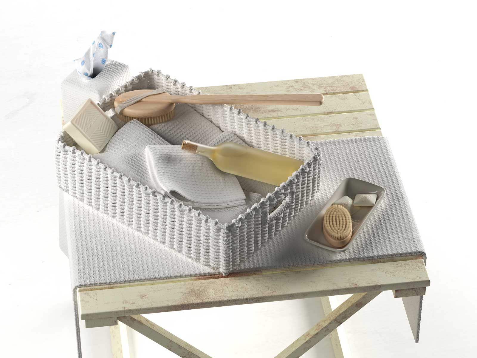 Genial Bathroom Toiletries On Wicker Tray 3d Model