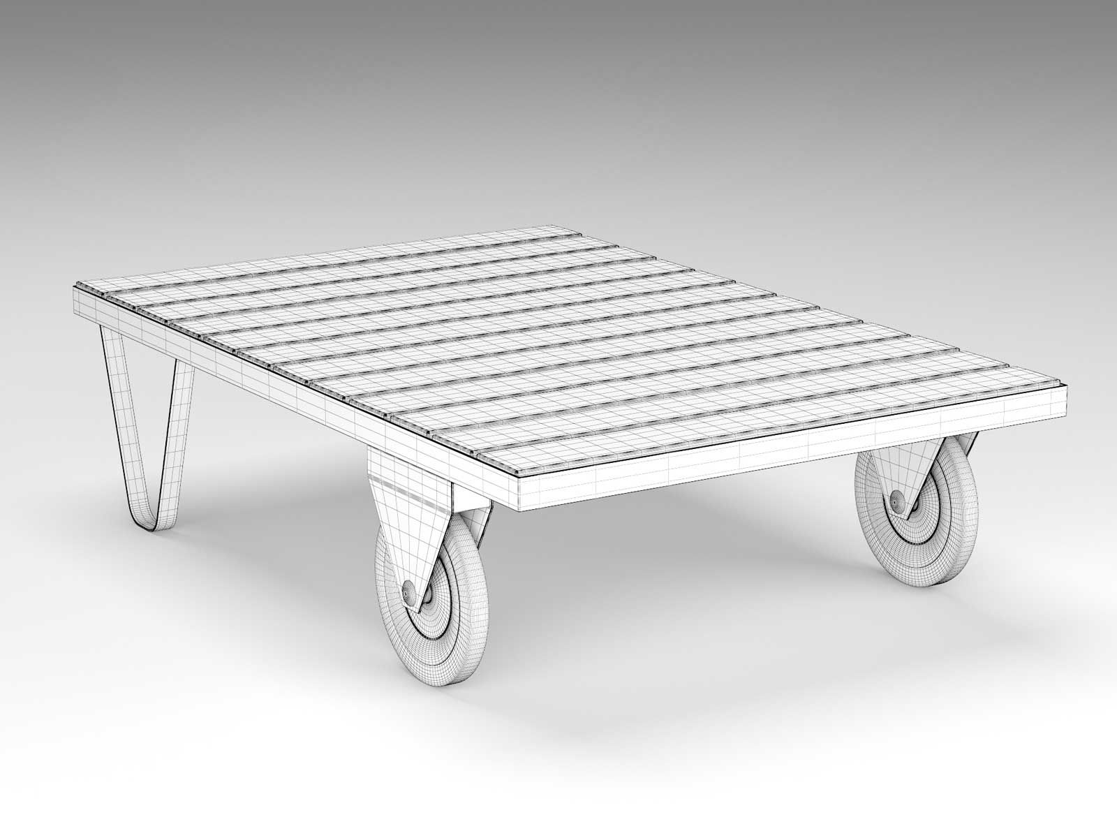 Factory Trolley Cart Table 3d Model